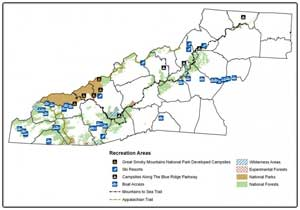 Great Smoky Mountains Recreational Map